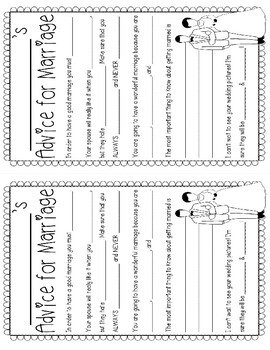 Students Advice for Marriage {Marriage Advice Book} A Fun Pre-Wedding Activity!