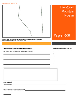 Our Alberta Activity Booklet - Chpt. 2 (The Rocky Mountain Region)