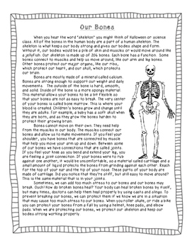 Our Bones- Nonfiction Science Article and Questions