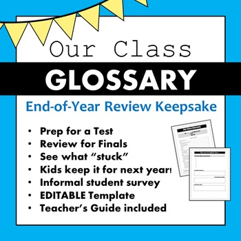 Our Class Glossary: an End-of-Year Review Keepsake!