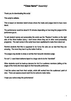 Our Class Has Talent Script 5-10 minutes * Editable *