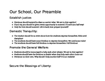 Our Class, Our Preamble