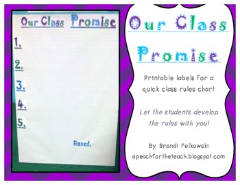 FREEBIE! Printable Labels for Rules Chart- Develop Rules with Your Students