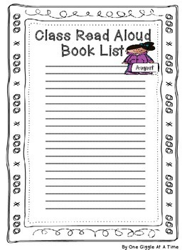 Our Class Read Aloud Response Journal