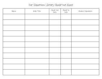 Our Classroom Library Check-out Sheet