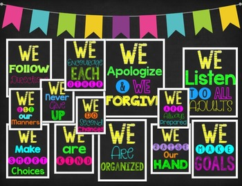 Our Classroom Promise (Positive Bright & Black Classroom Signs)
