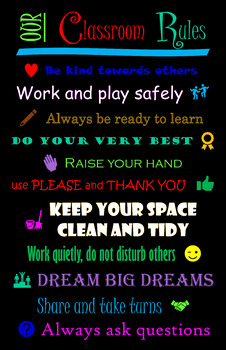 Our Classroom Rules Black Poster
