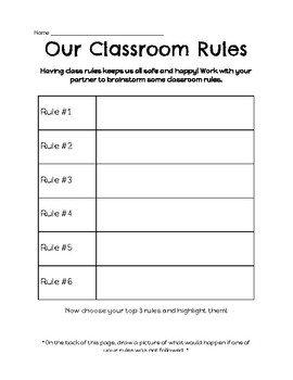 Our Classroom Rules Worksheet by Stars in Second   TpT