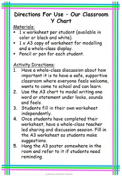 Our Classroom Y Chart Back to School or End of Year Fun, Printable Worksheet
