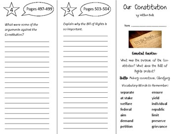 Our Constitution Trifold - Open Court 4th Grade Unit 5 Lesson 3
