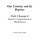 Our Country and Its Regions Chapter 1 Lesson 4 Article Comprehension Worksheets