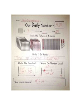 Our Daily Number: Connect Decimals to Fractions, Place Value, Number Lines, etc.