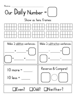 Our Daily Number: Enhance your Go Math! Curriculum