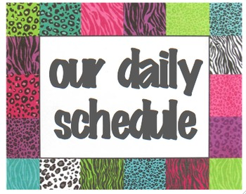 Our Daily Schedule Safari Themed