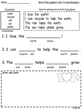 Our Earth Day Emergent Reader and Activities