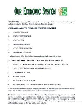 Our Economic System Lesson