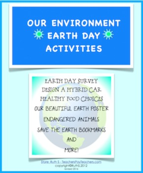 Our Environment Earth Day Activities FREE