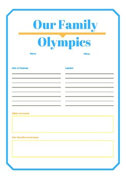 Our Family Olympics Planning Sheet