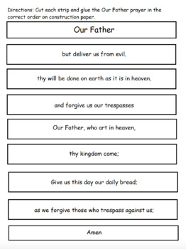 Our Father Prayer Cut and Paste Activity