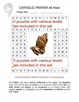 Our Father Prayer Word Search Puzzles - 3 levels for Early Finisher