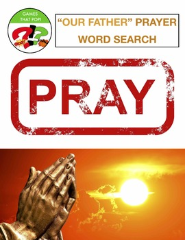 Our Father Prayer Word Search Puzzles - 3 levels Early Finisher BIBLE Christian