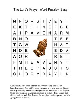 The Lord's Prayer Word Search Puzzles - 3 levels for Early Finisher
