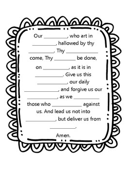 Our Father Prayer Worksheet