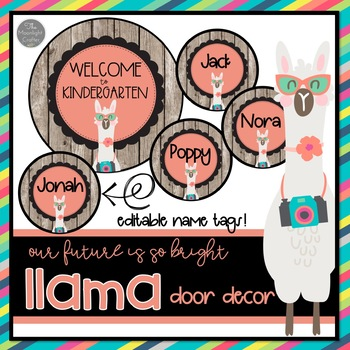 Our Future is so Bright EDITABLE Llama Door Decor and Bulletin Board Set