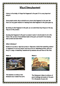 Our Heritage - Why is History Important Worksheet