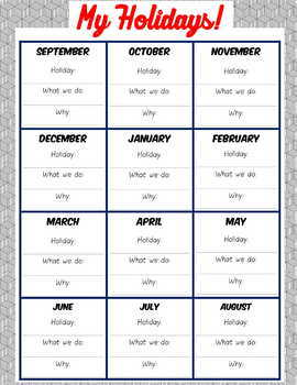 Our Holidays! (Know Your Students Suite) - Freebie