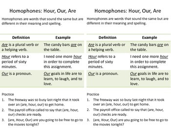 Our Hour Are Homophones