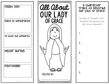 Our Lady of Grace Research Brochure Project with Interactive Notebook Pockets