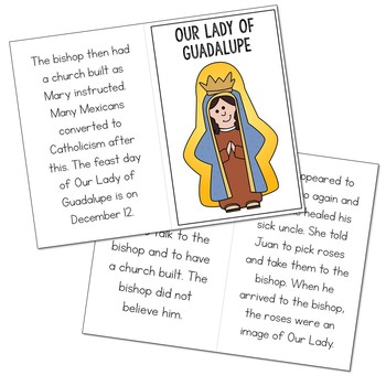Our Lady of Guadalupe Biography Mini Book in 3 Formats, Catholic Saints Resource