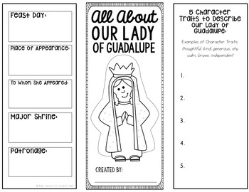 Our Lady of Guadalupe Research Brochure Project with Interactive Notebook Pocket