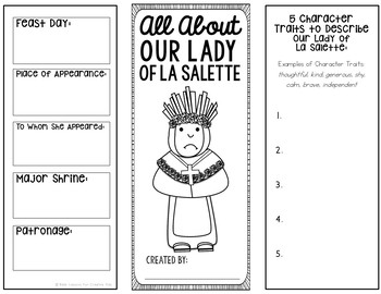 Our Lady of La Salette Research Brochure Project w/ Interactive Notebook Pockets