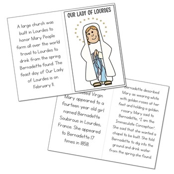 Our Lady of Lourdes Biography Mini Book in 3 Formats, Catholic Saints Resource