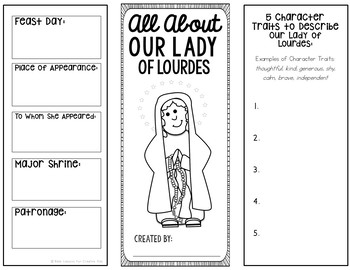 Our Lady of Lourdes Research Brochure Project w/ Interactive Notebook Pockets