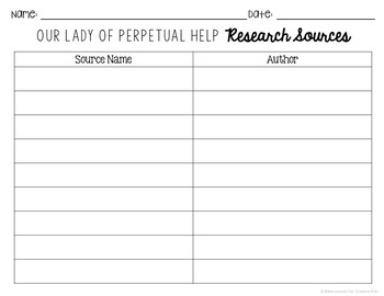 Our Lady of Perpetual Help Research Project w/ Interactive Notebook Pockets