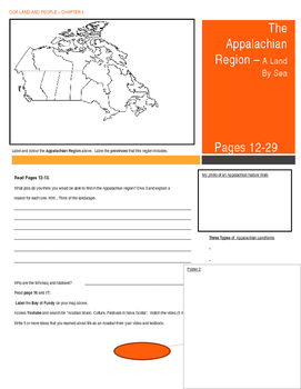 Canada - Our Land and People Activity Booklet - Chpt. 1 (The Appalachian Region)