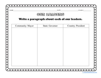 Our Leaders (mayor/governor/president) Graphic Organizer