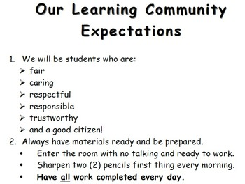 Our Learning Community Expectations - Class Rules