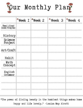 Our Monthly Plan printable