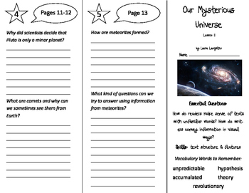 Our Mysterious Universe Trifold - ReadyGen 2016 5th Grade Unit 3 Module B