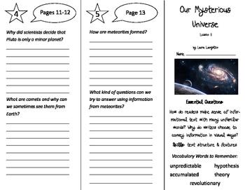 Our Mysterious Universe Trifolds - ReadyGen 5th Grade Unit 3 Module B