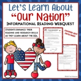 "USA Webquest ""Our Nation"" Internet Informational Reading Research Worksheets"