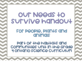 Our Needs to Survive Handout: Animals, Plants and People