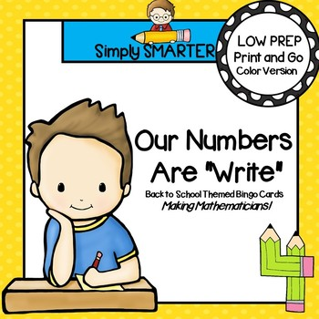 LOW PREP Back to School Themed Number Identification Bingo