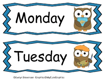 Our Owl Days of the Week