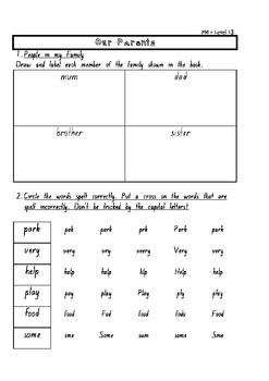 """Our Parents"": Worksheet Package PM Readers Rigby Non-Fiction Level 12 pdf"