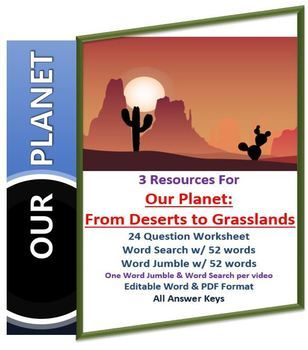 Our Planet: Deserts to Grasslands Netflix Video Questions Worksheet Word Search